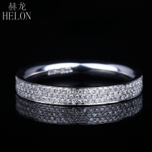 HELON 0.45ct 100% Genuine Natural Diamonds Enagement Wedding Solid 14K White Gold Half Eternity Women Trendy Fine Jewelry Ring(China)