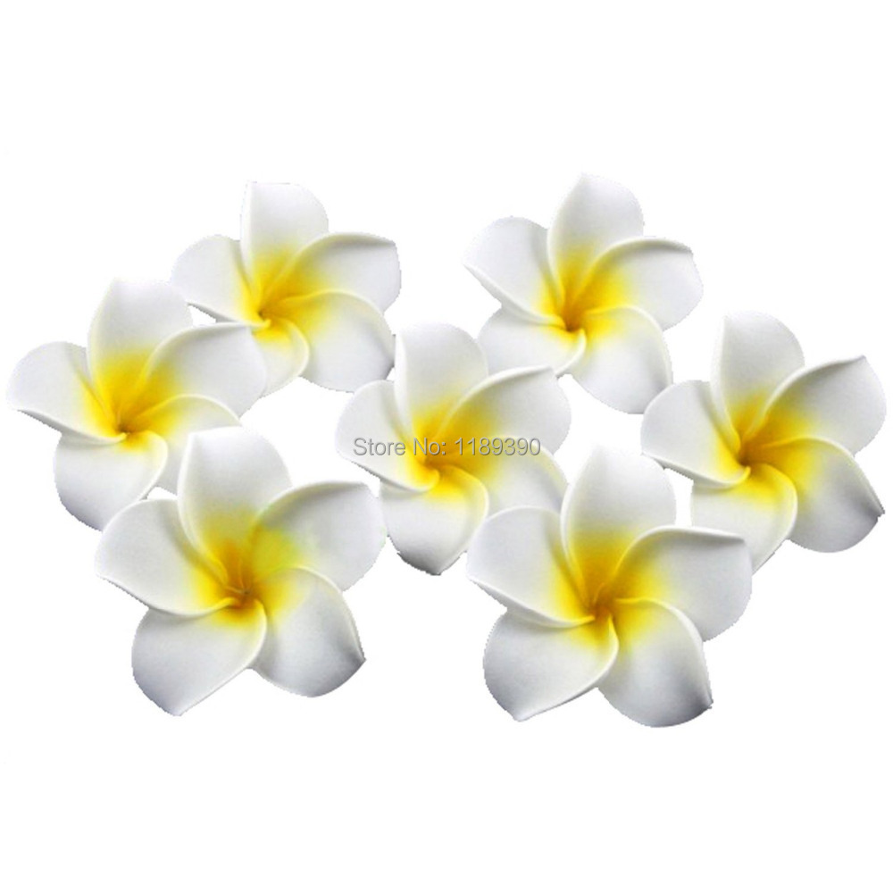 Yellow hair accessories for wedding - 6pcs Wedding Bridal Hair Pins Hawaiian Plumeria Foam Flower Hair Clips For Hair White Yellow Hair