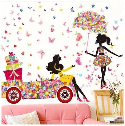 3D Fairy Cartoon Girl Living Room Wall Stickers Full Home Appliances Wall Decorative Declas for Parlory Free Shipping(China (Mainland))