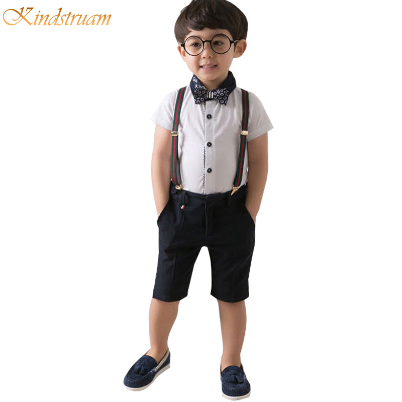 Kindstraum Summer Clothing Suits for Boys England Style Gentleman Short Sleeve Shirt + Suspender Shorts Kids Twinsets, HC768<br><br>Aliexpress