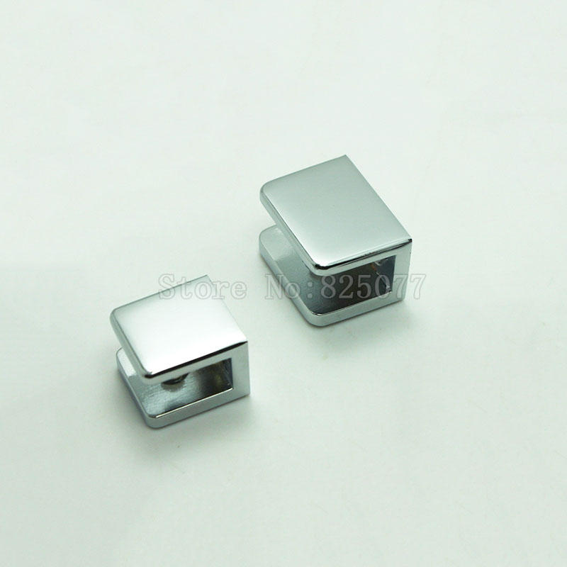 8PCS Chrome Square Glass U Clamp Brass Glass Fixed Bracket for 6mm~12mm Glass 2 Sizes Choose JF1522<br>