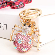 Spider Web Insect Lovely Charm Pendant Crystal Purse Bag Keyring Key Chain Gift Women In Apparel & Accessories(China)