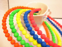 Fluorescent color pearl bead hairbands hair hoop neon bright candy color string beads bow headband hari band(China)