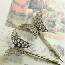 20Pcs 27X40MM Antique Bronze Vintage Copper Filigree Hair Side Clips Pins Hairpins Fasteners Clasps Base(China)