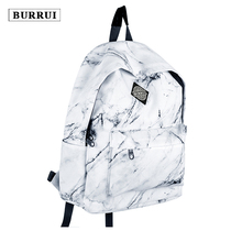 BURRUI Marble Pattern Printed Backpack Oxford Fabric Waterproof Casual Backpack Retro Style Laptop Bag Unisex School Backpacks(China)