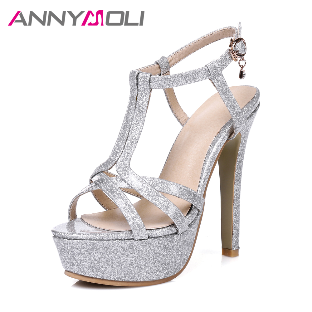 ANNYMOLI Women High Heels Platform Shoes 2017 Women Elegant Party Shoes Large Size 33-46 Lady Sexy Sandals Open Toe Summer Shoes<br>