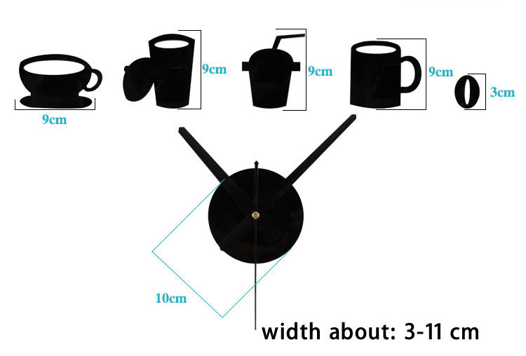 HTB1bWJFmBDH8KJjy1zeq6xjepXaK - 20 PCS/Set Quartz clocks fashion Stickers Coffee Cups Kitchen Wall Art