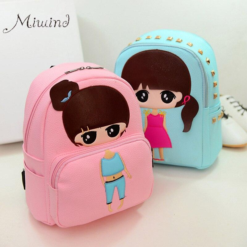 High Quality PU Leather Children Girls Mini Bag Cute Printing Anime Rivet Zipper 2017 Waterproof Dora Small Backpacks Mochila<br><br>Aliexpress