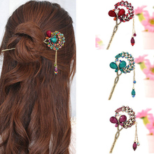 New Vintage Colorful Crystal Butterfly Hairclips Sticks Women Girls Fashion Retro Tassel Hair Jewelry Accessories Gifts
