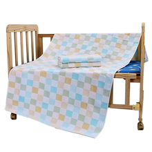 Limit buy 70*140cm Pure Cotton Double Layers Gauze Bath Towel Plaid Pattern Absorbent Bath Towels Blue/pink(China)
