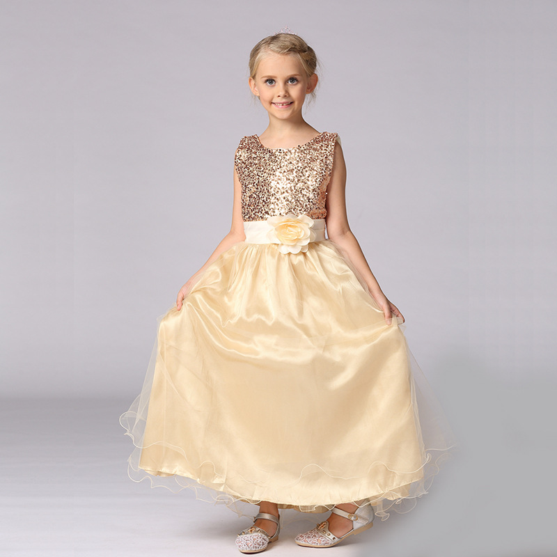 Princess Dress for Girls Clothes Sequins Bow-Knot Girl Party Long Dress Children Clothing 2017 Fashion Girls Dresses Kids<br>