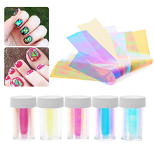 5Pcs/Lot Broken Glass Finger Nail Stickers Decal Styling Tools Different Styles DIY Nail Art Stencil Tips 3D Nail Decoration