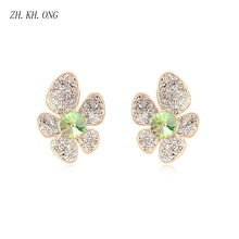 ZH.KH.ONG Luxury exaggeration gold color flower earrings Eurpean classic jewelry embed zircon crystal stud E281 - ZH KH ONG Store store