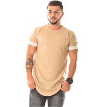 Europe and the United States simple men's t-shirt solid color T-shirt hem hip hop T-shirt