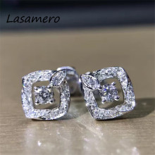LASAMERO 0.138CTW Round Cut 18K White Gold Square Design Natural Diamond Earrings Stud Earrings Fine Jewelry Earring Studs(China)
