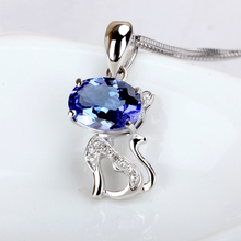 1 carat Large 9K White Gold Natural Blue Jewelry diamond jeweleryTanzanite jewelry Necklace Pendant Lovely cat design(China)