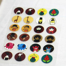 24Pcs 2x2cm Cartoon Offset Press Iron-on Patches for Clothing Offset PET Transfer DIY Scrapbooking Materails Patches Doll Patch