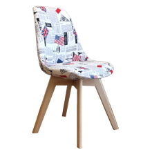 Comfortable English News Paper Beech Wood Legs Fabric Leisur Chair Dining Chair