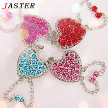 JASTER Roses heart USB Flash  Drive Crystal Necklace  pendrive 4GB/8GB/16GB Wholesale decorations Fashion memory stick diamond