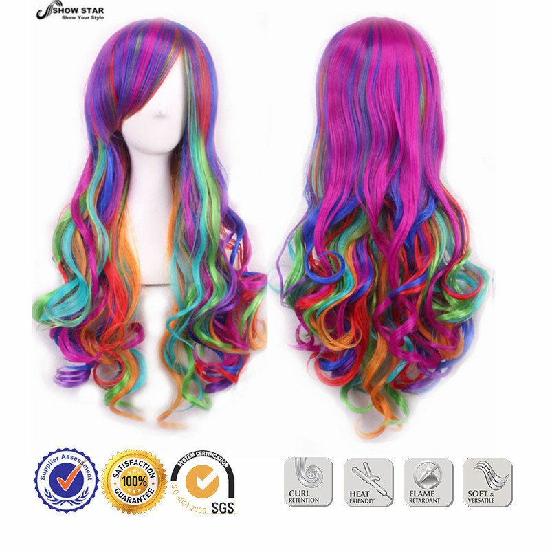 New European Harajuku Lolita Rainbow Long Wig Wavy Curly Multicolored Anime Cosplay Colorful Heat Resistant Cheap Synthetic Wig<br><br>Aliexpress