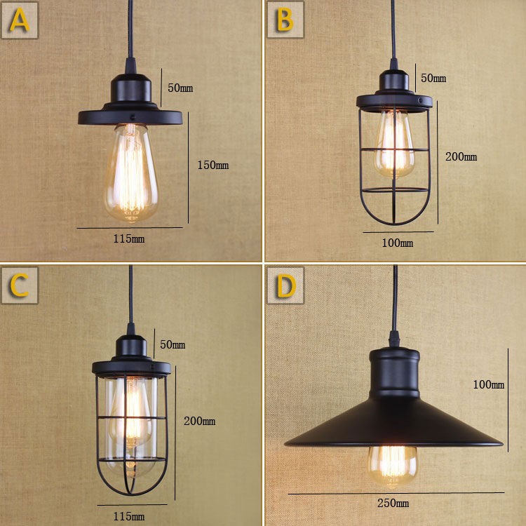 LOFT Industrial E27 black retro Iron wire pendant Lights/Edison lamp For dining room/Living/coffee/Modern Kitchen Hanging Lights<br><br>Aliexpress