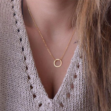 KISS WIFE new women trendy necklaces Fashion Simple gold Circle Pendant choker necklace ladies short Clavicle Chain(China)
