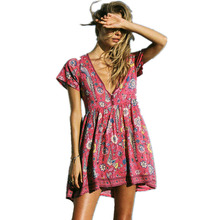 Boho Dress Red Floral Print Mini Dress V-Neck Short Seeve Women Dresses 2017 New Summer Loose Style Bohemia Beach Dresses(China)