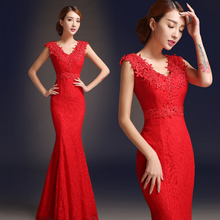 chinese traditional red lace brides maid dress elegant formal long bridemaids dresses robe longue occasion free shipping B2475