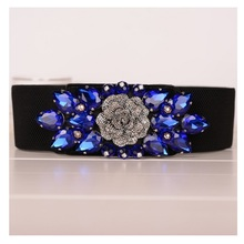 Vanled 2017 Wide Elastic Waist Ladies Belt  Eleghant Rhinestones Floral Belts Crystal Girls Jeweled Girdle Ceinture