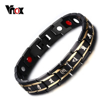 Vnox Health Men Bracelet Bangle 316L Stainless Steel Magnetic Care Jewelry Black Engraved Chinese Buddhism(China)