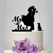 2017 Acrylic Sweet Lover With 1 Dog Wedding Cake Topper/Wedding Stand/Wedding Decoration Wedding Cake Accessories Casamento