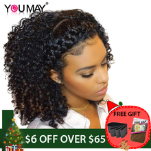 Kinky Curly Wig 360 Lace Frontal Wigs Pre Plucked With Baby Hair Brazilian Lace Front Human Hair Wigs 180% You May Remy Hair (China)