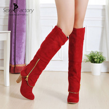 Fashion Autumn Winter Women Boots Thigh High Boots Female Sexy Suede Leather Knee High Heels Boots Plus Size Shoes Brand Design