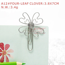 A12 FOUR-LEAF CLOVER PAPER/NOTE CLIP PRACTICAL/NOVELTY STAINLESS HAND-MADE ART CRAFTS WEDDING&BIRTHDAY&HOME&OFFICE&GIFT&PRESENT(China)