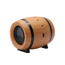 Wireless Bluetooth Wooden Color Beer Bucket Shaped with Two Speakers Vintage Creative Bluetooth Speaker(China)