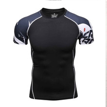 3D Print Style Compression Shirt for Men's Short Sleeves MMA Rashguard Tshirt Quick dry Workout Bodybuilding Fitness Tops