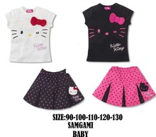 Retail 2017 children's Summer clothing set baby girls hello kitty t-shirt+skirt 2pcs set kids child cartoon clothes sets suits