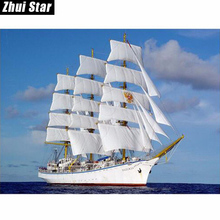 DIY diamond painting cross stitch diamond embroidery sailboat full drill diamond mosaic pictures of the diamonds zx