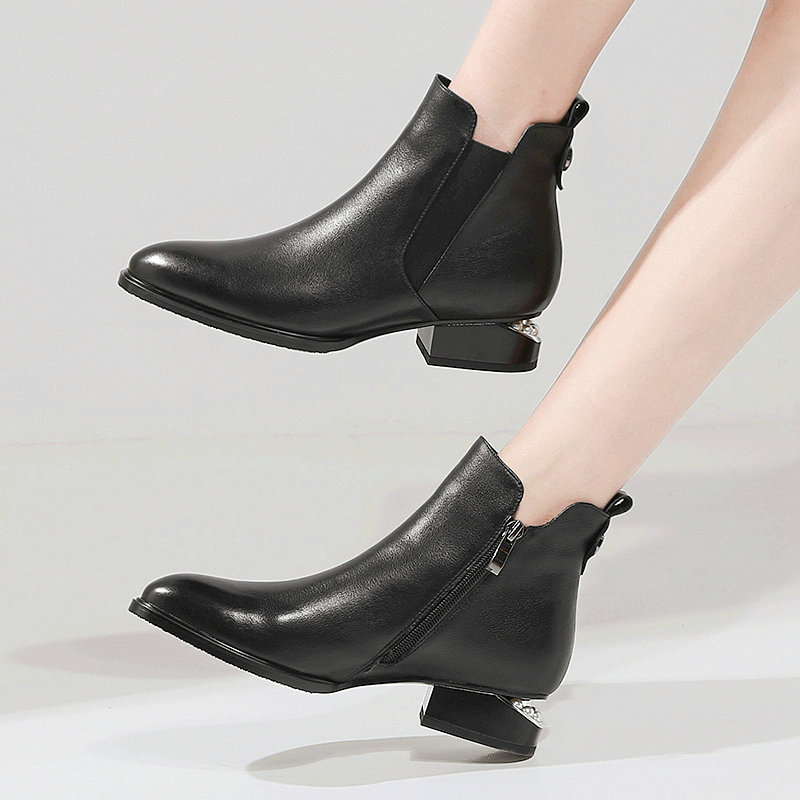 Fashion women boots round toe zip genuine leather boots low heels classic ankle boots ladies black shoes large size 42 10 Online shopping Bangladesh
