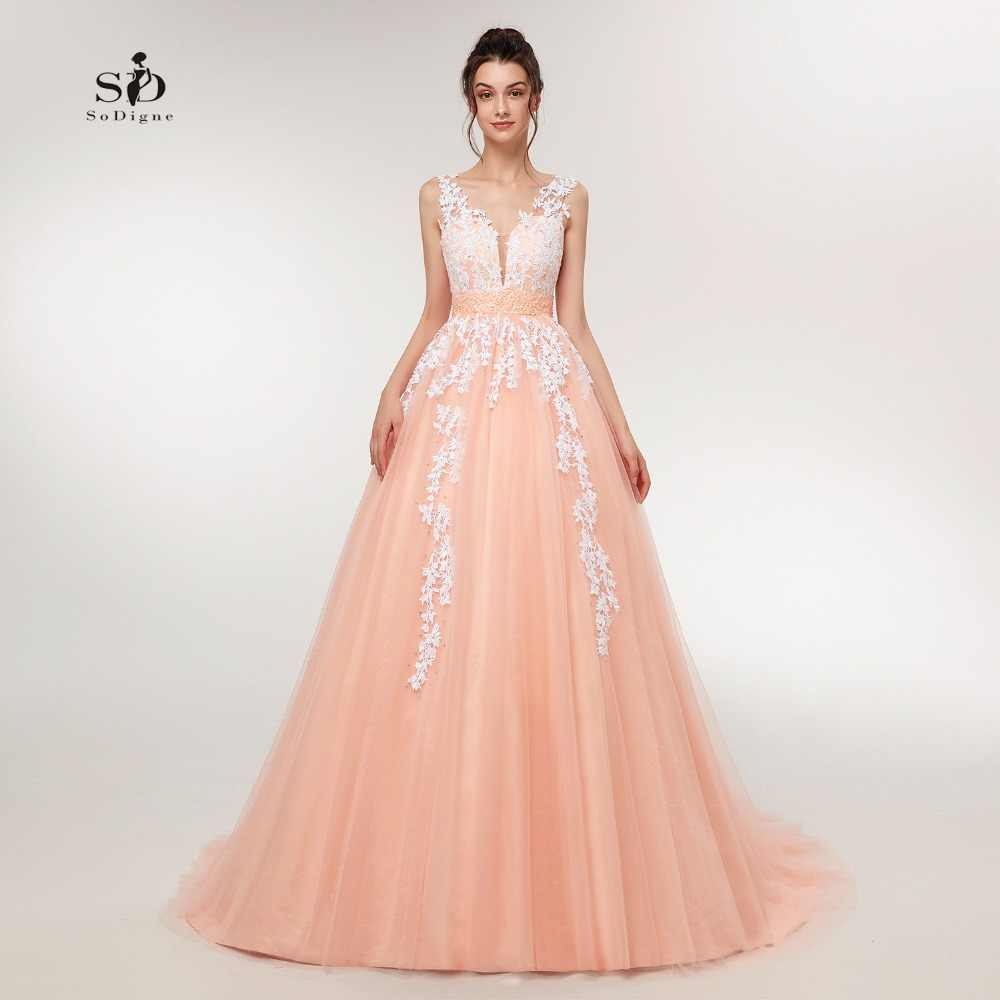 9f9c7edb894f Wedding Dress 2018 Peach Lace Appliques Beaded V-neck Pictures Real Plus  Size A-