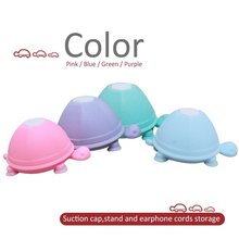 2-in-1 Multifunctional Dual-head Turtle Silicone Suction Cup Cellphone Holder Mount &Earphone Wrap Cable Headphone Cord Winder