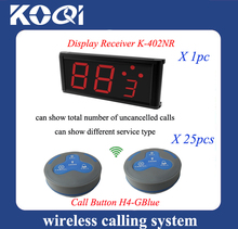 Table service bell, waiter call system of 25pcs 4-key calling buzzer and one display receptor in restaurant(China)