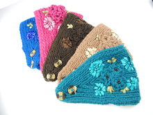 Women Crochet Headband Knit Hairband 3D ribbon rose Flower Winter Ear Warmer Head Wrap