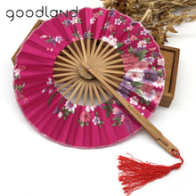 Free Shipping 10pcs/lot with Gift bag Bamboo Cherry Blossom Personalized Printed Chinese Japanese Folding Fan Wedding Invitation(China)