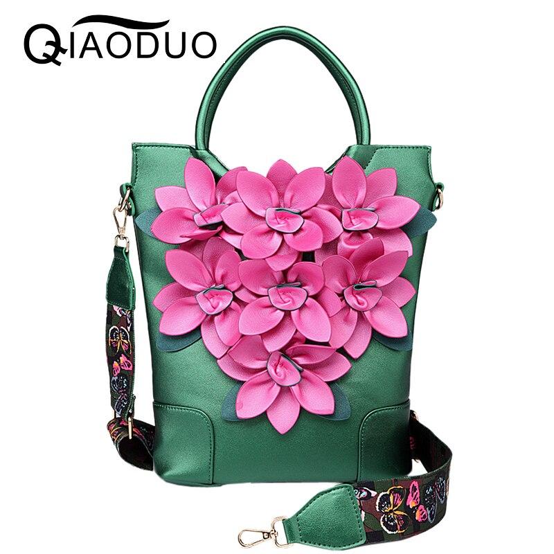 QIAODUO Luxury Handbags Women Bags Designer National Wind Retro Flowers Handbag High Quality Leather Pu Travel Bag Shoulder Bags<br>