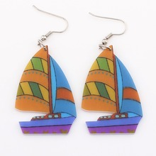 Bonsny Sailing Ship Boat Drop Earrings Long Acrylic Dangle Earrings Fashion Brand Jewelry For Women 2015 News Style Accessories(China)
