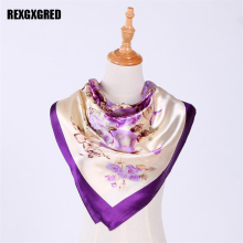 Hot Sale Silk Square Scarf Women Fashion Brand High Quality Silk Satin Scarves 90*90cm(China)