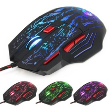 Adjustable 5500DPI 7 ButtonLED Backlit Gaming Mouse Optical Wired Mouse Flow Crack with Colorful Lights USB Computer Mouse Gamer(China)
