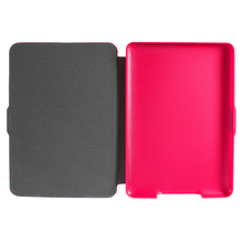 2 Packs Magnetic PU Leather Cover Case slim for Amazon Kindle Paperwhite (Cross pattern, Rose red)(China)