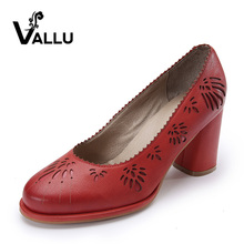 2017 Genuine Leather Women Pumps Shoes High Heels Sheepskin Vintage Handmade Women Shoes Yellow Red(China)